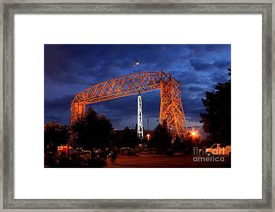 Aerial Lift Bridge Framed Print by Lori Tordsen
