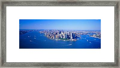 Aerial Lower Manhattan New York City Ny Framed Print by Panoramic Images