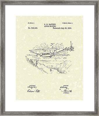 Aerial Machine 1893 Patent Art Framed Print by Prior Art Design