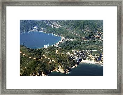 Aerial  Of Acapulco Bay Mexico From Both Sides Framed Print by Jodi Jacobson