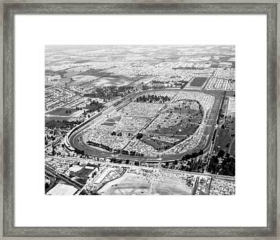 Aerial Of Indy 500 Framed Print by Underwood Archives