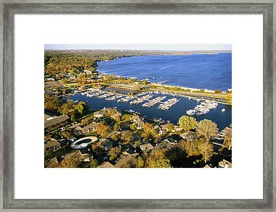Aerial Of The Abbey Harbor - Fontana Wisconsin Framed Print by Bruce Thompson