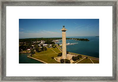 Aerial Perry's Monument  Framed Print by Kevin Cable