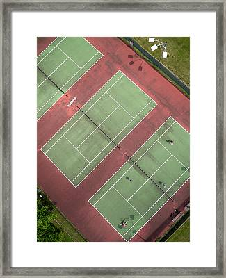 Aerial Straight Down View Of Tennis Courts Framed Print by Rob Huntley