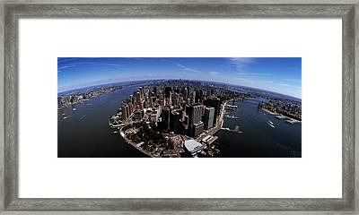 Aerial View Of A City, New York City Framed Print by Panoramic Images