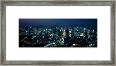 Aerial View Of A City, Seoul, South Framed Print by Panoramic Images