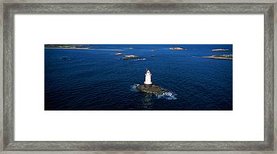 Aerial View Of A Light House, Sakonnet Framed Print by Panoramic Images
