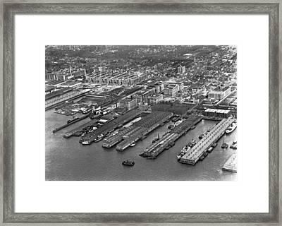 Aerial View Of Brooklyn Docks Framed Print by Underwood & Underwood