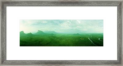 Aerial View Of Green Misty Landscape Framed Print by Panoramic Images