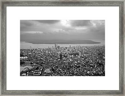 Aerial View Of Guayaquil City Framed Print by Sami Sarkis