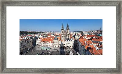 Aerial View Of Jan Hus Memorial And Tyn Framed Print by Panoramic Images