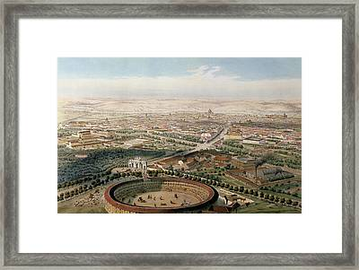 Aerial View Of Madrid From The Plaza De Toros Framed Print by Alfred Guesdon