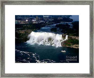 Aerial View Of Niagara Falls And River And Maid Of The Mist Framed Print by Rose Santuci-Sofranko