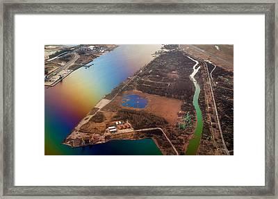 Aerial View Of Riga. Latvia. Rainbow Earth Framed Print by Jenny Rainbow