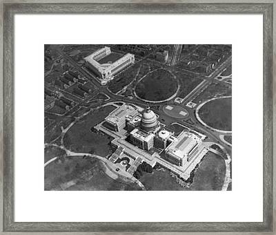 Aerial View Of U.s. Capitol Framed Print by Underwood Archives