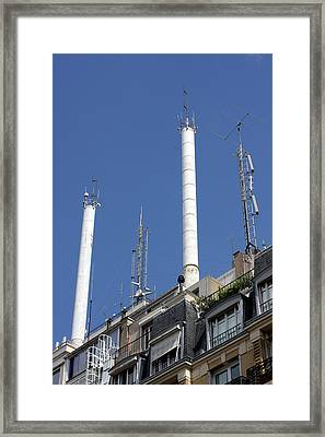 Aerials And Smokestacks Framed Print by Alex Bartel