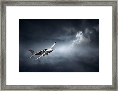 Risk - Aeroplane In Thunderstorm Framed Print by Johan Swanepoel