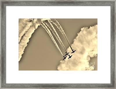 Aeroshell Aerobatic Team In Sepia  Framed Print by Lynda Dawson-Youngclaus
