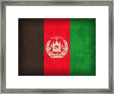 Afghanistan Flag Vintage Distressed Finish Framed Print by Design Turnpike