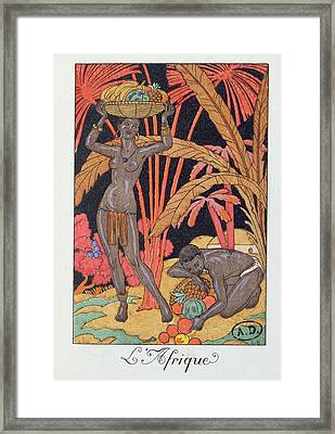 'africa' Illustration For A Calendar For 1921 Framed Print by Georges Barbier