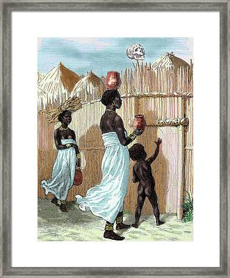 Africa Two Women And A Child Entering Framed Print by Prisma Archivo