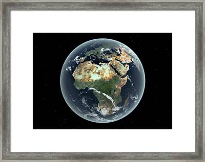 Africa With Sea Level Rise Framed Print by Walter Myers