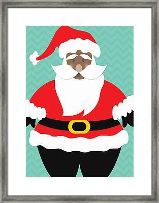 African American Santa Claus Framed Print by Linda Woods