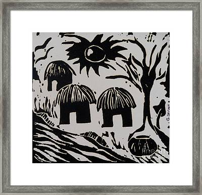 African Huts White Framed Print by Caroline Street