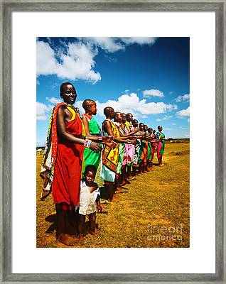 African Men Dancing Framed Print by Anna Omelchenko