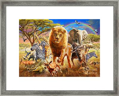 African Stampede Framed Print by Adrian Chesterman