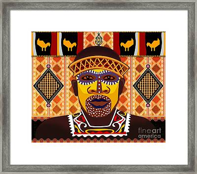 African Tribesman 2 Framed Print by Bedros Awak