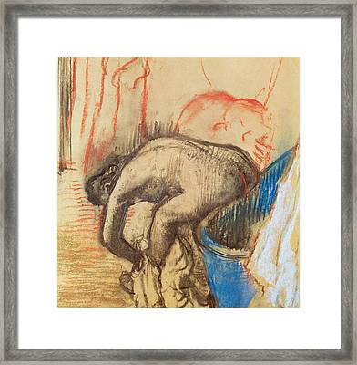 After Bath Framed Print by Edgar Degas