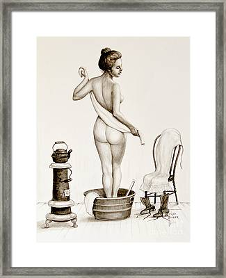 After The Bath 1890's Framed Print by Art by - Ti   Tolpo Bader
