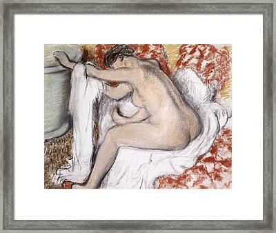 After The Bath Woman Drying Herself Framed Print by Edgar Degas