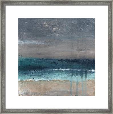 Bedroom Framed Print featuring the painting After The Storm- Abstract Beach Landscape by Linda Woods