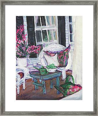 Afternoon At Emmanline's Front Porch Framed Print by Helena Bebirian
