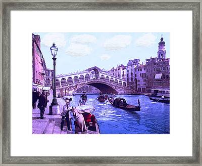 Afternoon At The Rialto Bridge Venice Italy Framed Print by L Brown