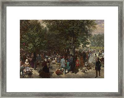 Afternoon In The Tuileries Gardens Framed Print by Adolph von Menzel