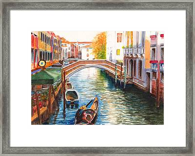 Afternoon On A Canal In Venice Italy Framed Print by Dai Wynn