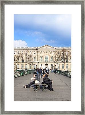 Afternoon On The Pont Des Arts - Parisian Style Framed Print by Mark E Tisdale
