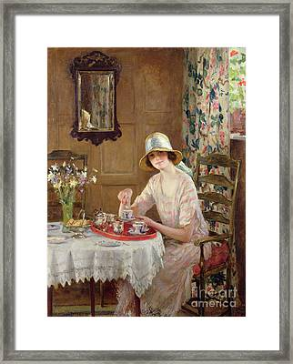 Afternoon Tea Framed Print by William Henry Margetson