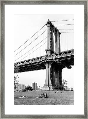 Afternoon Under The Manhattan Bridge - Brooklyn Bridge Park Framed Print by Gary Heller