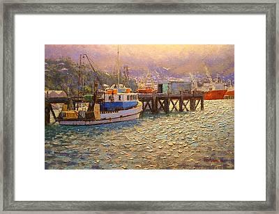 Against The Light Lyttleton Harbour Framed Print by Terry Perham