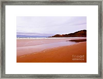 Agate Beach Oregon With Yaquina Head Lighthouse Framed Print by Artist and Photographer Laura Wrede