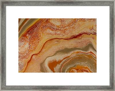Poured Agate Painting 6 Cropped As A Warm Abstract Landscape Framed Print by Kirsten Gilmore