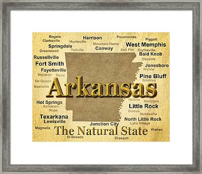 Aged Arkansas State Pride Map Silhouette  Framed Print by Keith Webber Jr