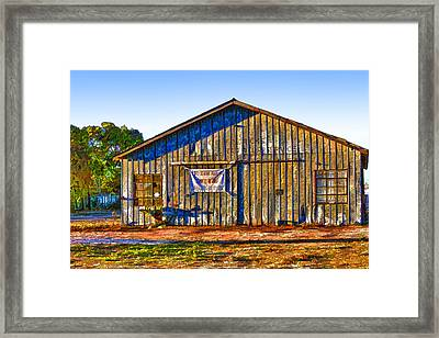 Aged Metal Shed Cartoon Framed Print by Linda Phelps