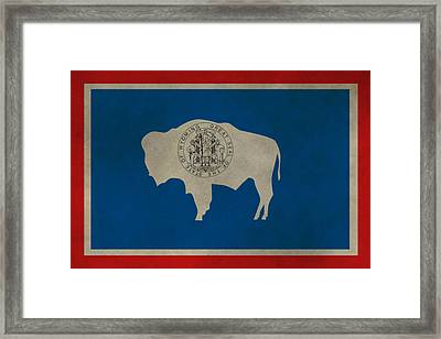 Aged Wyoming State Flag Framed Print by Dan Sproul
