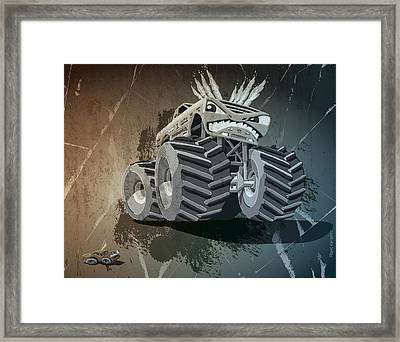 Aggressive Monster Truck Grunge Framed Print by Frank Ramspott