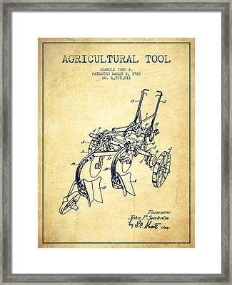 Agricultural Tool Patent From 1926 - Vintage Framed Print by Aged Pixel